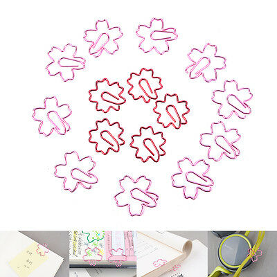 2Pcs Pink Red Sakura Cherry Blossom Flowers Paperclips Planners Paper Clips ^