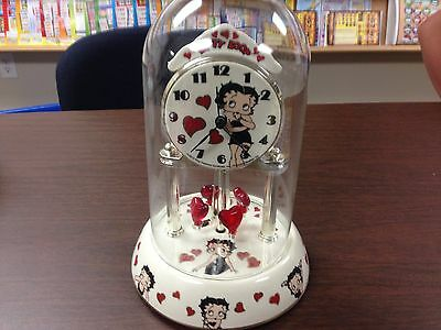 BETTY BOOP Porcelain Anniversary Collectible Glass Dome Clock