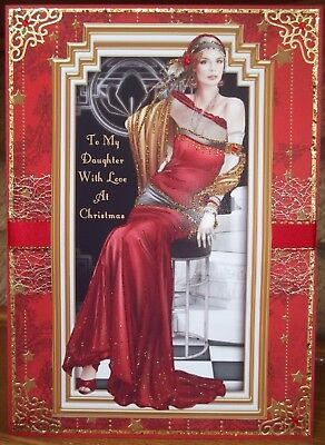 handmade art deco personalised daughter christmas card with elegant lady in red