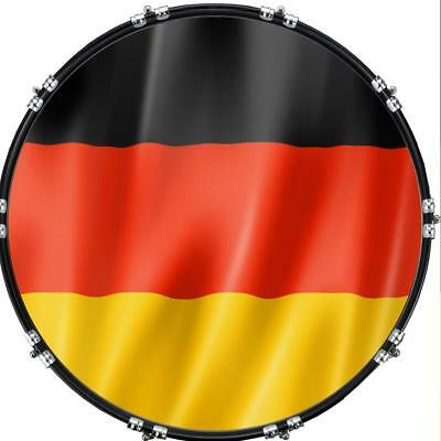 """Custom 22"""" Kick Bass Drum Head Graphical Image Front Skin Flag Germany 1"""