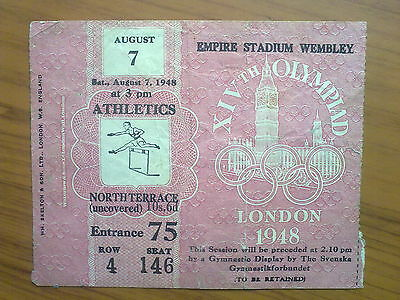 Ticket Olympic Games LONDON 1948 - ATHLETICS 07.08.1948