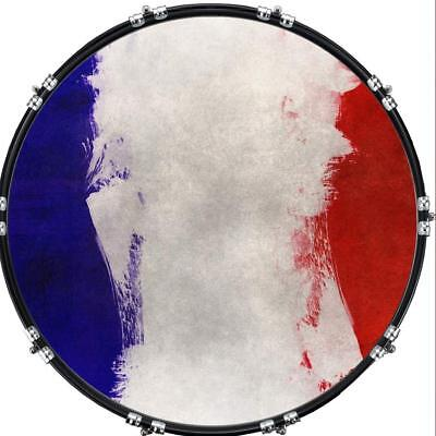 """Custom 22"""" Kick Bass Drum Head Graphical Image Front Skin Flag France"""