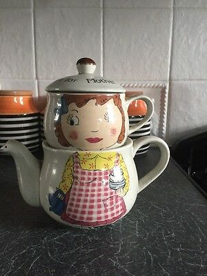 """Tea for One Stacking Tea Pot and Cup """"Tea for Mother"""" Vintage Style"""