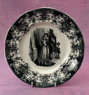Decorative plate. Possibly Romeo and Juliet. Black transfer print c1860
