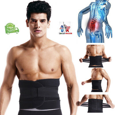 Unisex Adjustable Double Pull Lumbar Brace Back Support Lower Black Waist Belt