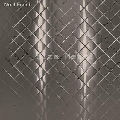 8 Pack - 430 Brushed Quilted Pattern Stainless Steel Sheets, 24Ga 4' x 10'