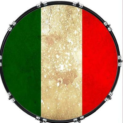"""Custom 22"""" Kick Bass Drum Head Graphical Image Front Skin Flag Italy 1"""