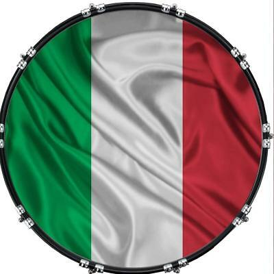 """Custom 22"""" Kick Bass Drum Head Graphical Image Front Skin Flag Italy 2"""