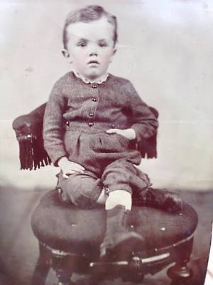 1/2 Plate Tintype Beautiful Child Boy Tinted Cheeks Boots Victorian Half Plate
