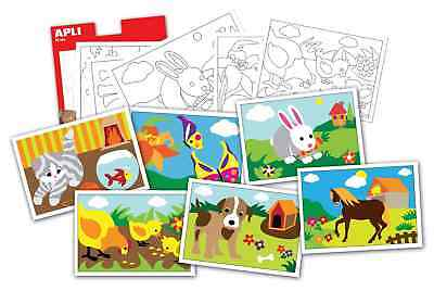 Cartes à sable Animaux 6 cartes A5 - APLI AGIPA