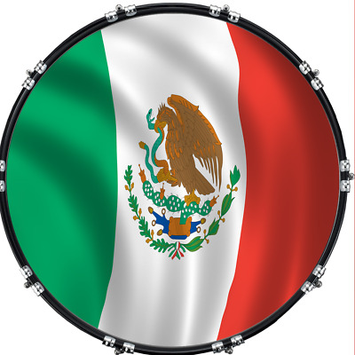 """Custom 22"""" Kick Bass Drum Head Graphical Image Front Skin Flag Mexico"""