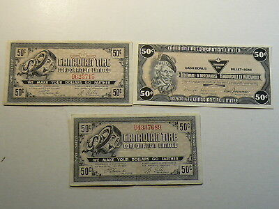 Canadian Tire Coupon Notes 50 Cents  Lot of 3  #2809