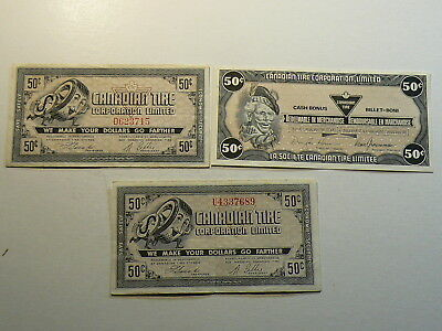 Canadian Tire Coupon Notes, Lot of 3 Fifty 50 Cents   #2809