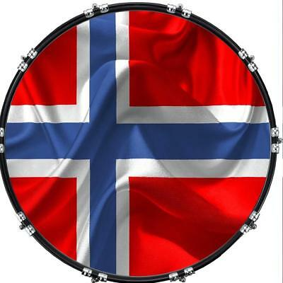 """Custom 22"""" Kick Bass Drum Head Graphical Image Front Skin Flag Norway"""