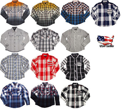 Smash Boys Sizes 4 - 14 Western Style Long Sleeve Button or Snap Down Shirt Top