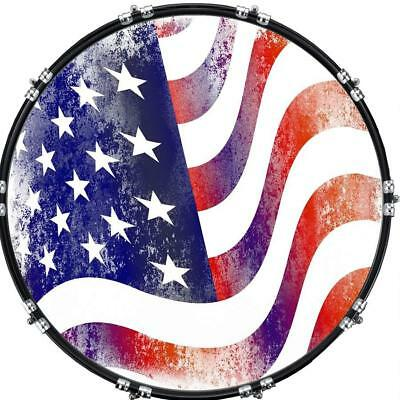 """Custom 22"""" Kick Bass Drum Head Graphical Image Front Skin Flag US Abstract"""