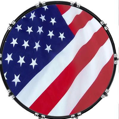 """Custom 22"""" Kick Bass Drum Head Graphical Image Front Skin Flag US Patriot 2"""