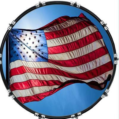 """Custom 22"""" Kick Bass Drum Head Graphical Image Front Skin Flag US Patriot 3"""