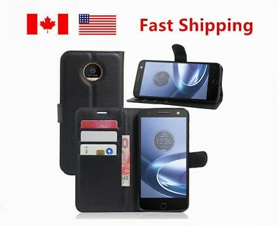 Shockproof Flip PU Leather Wallet Card Slots Case Cover For Motorola Moto Z Play
