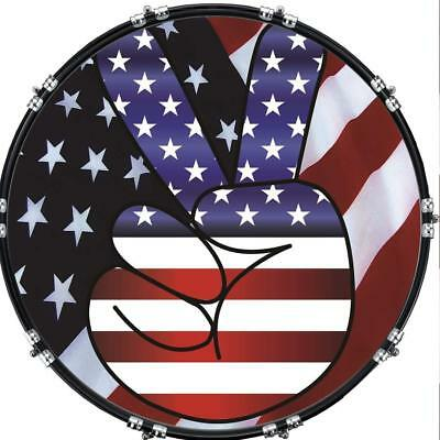"""Custom 22"""" Kick Bass Drum Head Graphical Image Front Skin Flag US Patriot 5"""