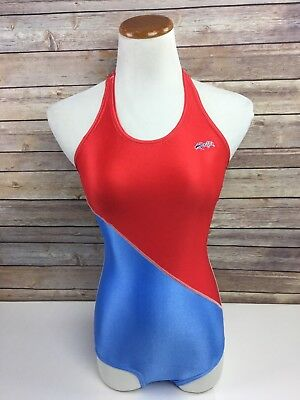 Vtg Dolfin Swimsuit Made in USA Red White Blue Tank Womens L Large Lycra