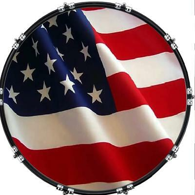 """Custom 22"""" Kick Bass Drum Head Graphical Image Front Skin Flag US Patriot"""