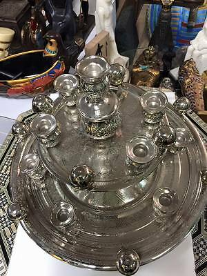 Egyptian Silver Brass Hand Made Belly Dance Shemadan Candle Tray  Made in Egypt
