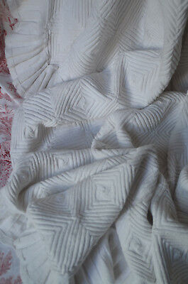 "Large antique French hand knitted cotton bed cover, 89"" x 80"""