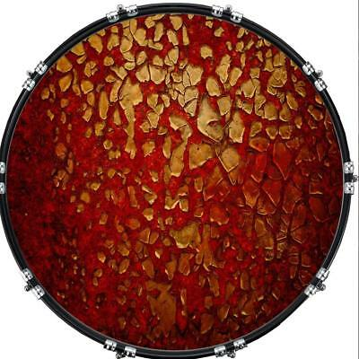 """Custom 22"""" Kick Bass Drum Head Graphical Image Front Skin Flaky Paint Red Rust"""