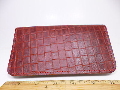 Bay State Exclusive Red Basket Weave Leather Standard Checkbook Cover-Made In US
