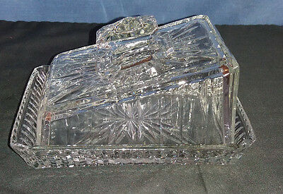 Vintage Retro Pressed Moulded Glass Covered Sloping Cheese Dish VGC c1950s