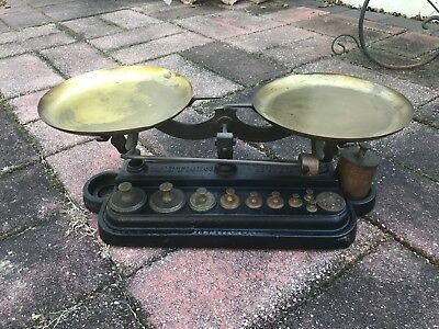 Cast Iron & Brass Antique Henry Troemner #10 Apothecary Pharmaceutical Scale