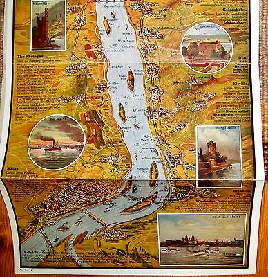 1920/30s Cartoon Style CLEAN Relief Panorama Rhine River Germany Color Map VTG