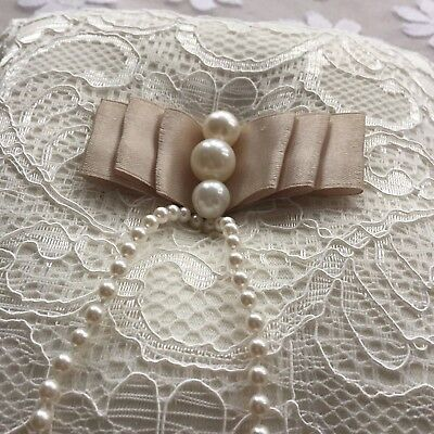 Stunning ivory lace, faux pearl Wedding Ring cushion, Bridal ring holder
