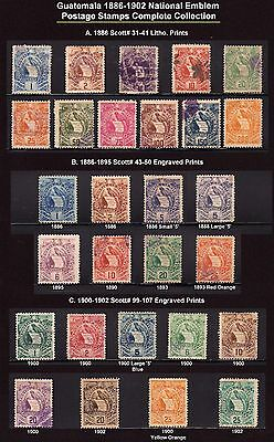 Guatemala 1886 - 1902 Sc 31 - 41 43 - 50 99 - 107 Complete Sets - Quetzal Issues