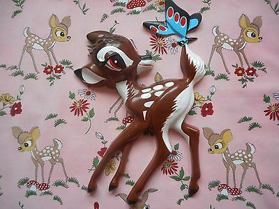 Cute vintage kitsch retro Disney Bambi moulded plastic wall plaque, deer fawn