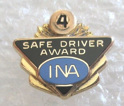 Vintage INA Insurance Company of North America 4 Year Safe Driver Pin 1/10 10K