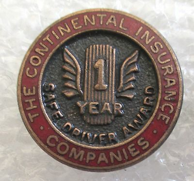 Vintage The Continental Insurance Companies 1 Year Safe Driver Award Pin