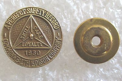 Vintage Commonwealth Edison Company 1930 Perfect Safety Record Award Lapel Pin