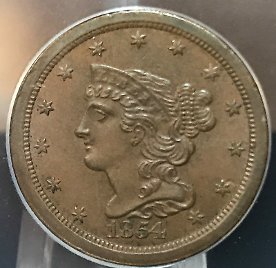 1854 1/2c Half Cent Braided Hair ANACS AU55