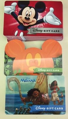 Lot Of 3 Walt Disney World Gift cards Halloween, Mickey & Moana.No $ Collectible