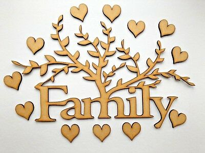 Wooden MDF Family Tree  with hearts ,craft shape Christmas gift, embellishment,