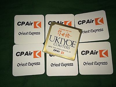 CP AIR AIRLINE ORIENT EXPRESS Japanese Fine Art UKIYOE COASTERS
