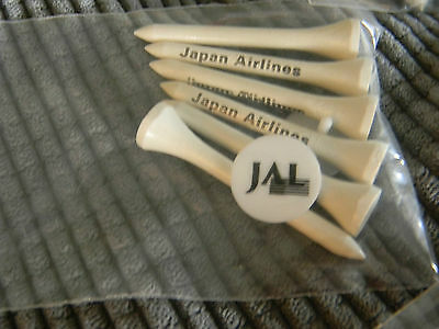 Japan Airlines JAL Old Livery logo Vintage golf tees & ball markers-7 pkgs New