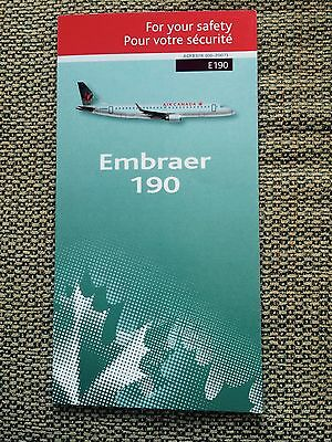 Air Canada Airline Embraer 190 E190 Safety Briefing Card