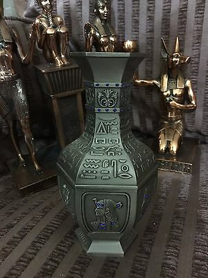 Vintage Large Unique Hand Made Egyptian Pewter Vase 1988  Mad in Egypt