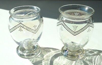 2 Antique Iridescent Clear Glass Vases White Enamel Decoration Possibly Lobmeyr