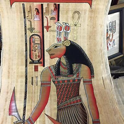 Vintage Hand Painted Papyrus Egyptian Goddess Sekhmet Made In Egypt