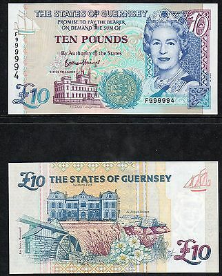 Guernsey - £10 note - **F999994** - Very High Number - Bethan Haines ****UNC****