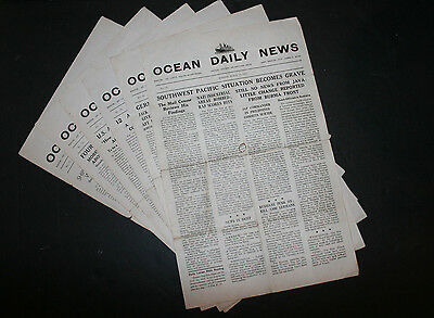 Lot of 6 Vintage WW2 Single Page Broadsheet Newspapers Queen Mary Blanchard